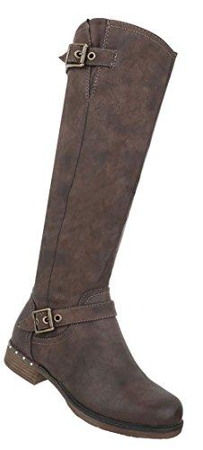 Schuhe Used Damen Optik Braun Stiefel a0w4B