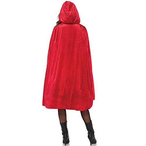 ECITY Unisex adult Costume Velvet Hooded Cloak Role Play Halloween Xmas Party Cape (X-Large (66.9 inch=170cm), Red) -
