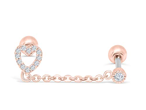 ONDAISY 14k Rosegold Plated Simulated Diamond Round Cz Love Heart Ear Barbell Ball Stud Earring Chain Piercing