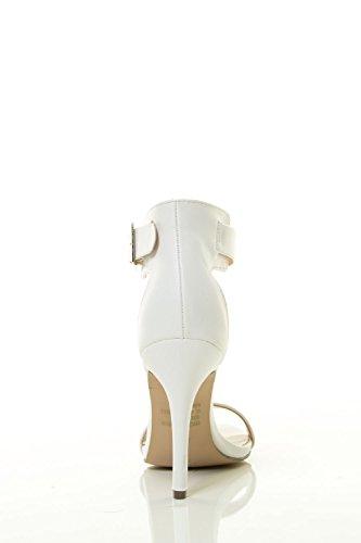 Punta Aperta Tacco A Spillo Donna Breckelles Con Cinturino Alla Caviglia E Sandalo Bianco