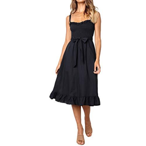 Sunhusing Women's Pleated Lace Trim Sling Sleeveless Off-Shoulder Bow Belt Lace-Up Ruffle Dress Black (Baseball Sleeveless Uniform)