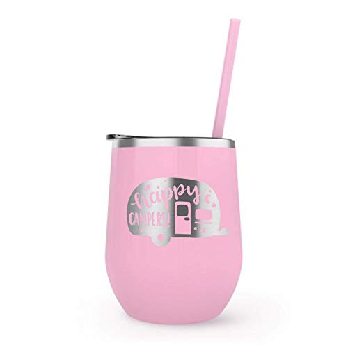 Pink Happy Campers Camp Fire Travel Tumbler Stemless Wine Glass w/Straw Funny Gift for Women