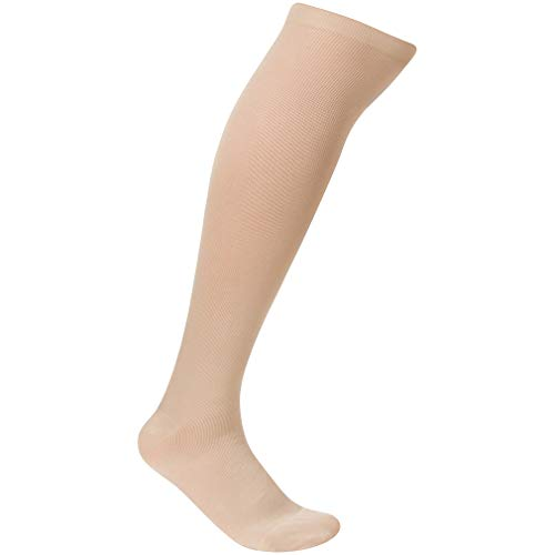 EvoNation Mens USA Made Graduated Compression Socks 20-30 mmHg Firm Pressure Medical Quality Knee High Orthopedic Support Stockings Hose - Best Comfort Fit, Circulation, Travel (Large, Tan)