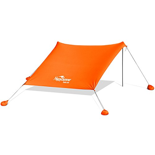 HappySummer Beach Tent with sandbag anchors—the portable, lightweight, 100% lycra SunShelter with UV protection. The perfect SunShade canopy for the entire family (orange, large)