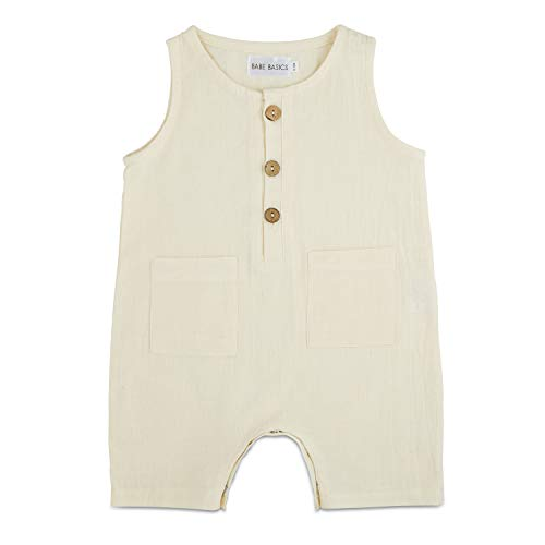- Babe Basics Cropped Linen Baby Romper | Baby Boy Summer Romper | Summer Photoshoot Outfit (White, 3-6 Months)