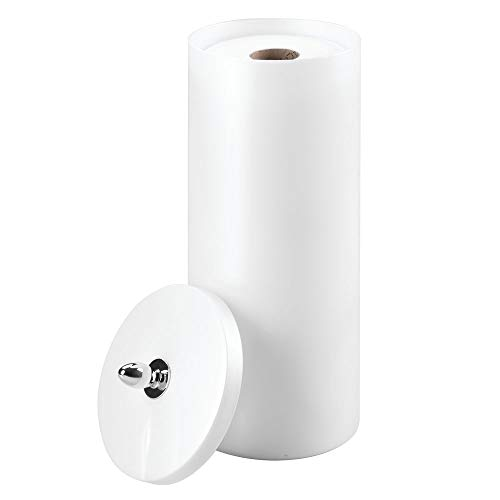 InterDesign Orb Free Standing Toilet Paper Holder – Spare Roll Storage for Bathroom, Pearl White/Chrome - Cabinet Hardware Plastic
