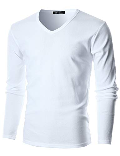GIVON Mens Slim Fit Flice Cotton Long Sleeve Lightweight Thermal V-Neck T-Shirt/DCP053-WHITE-XL