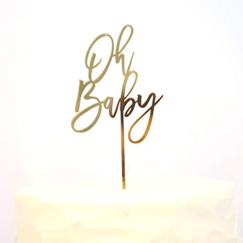 (Celebrate Life Designs Baby Shower Cake Topper Gold OH BABY 5 1/4