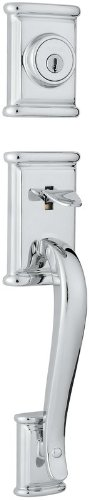 (Kwikset 801ADHLIP-26S Ashfield Double Cylinder Exterior Handleset Smart Key Bright Chrome Finish)