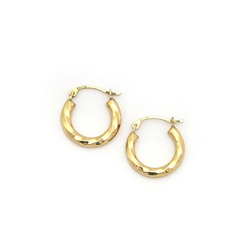 14k Yellow Gold 2mm Small Twisted Hoop Earrings, 5/8