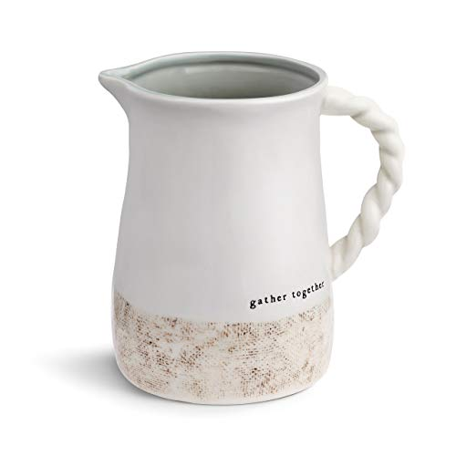 Woven Gather Together Glossy White 8 x 6 Luxe Ceramic Stoneware Pitcher