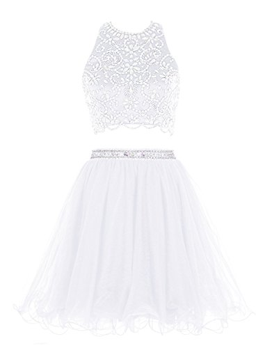 Deux Pièces De Perles Fanciest Femmes 2016 Robes De Bal Courte De Bal Pour Les Juniors Blanc