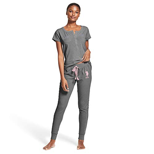 U.S. Polo Assn. Womens 2 Piece Short Sleeve Pocket Shirt Pajama Sleep Sweatpants Charcoal Heather Sky 3X