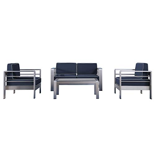 Christopher Knight Home Cybele Doris Outdoor 4 Seater Chat Set with Coffee Table, Canvas Navy Sunbrella, Canvas Natural Sunbrella and ()