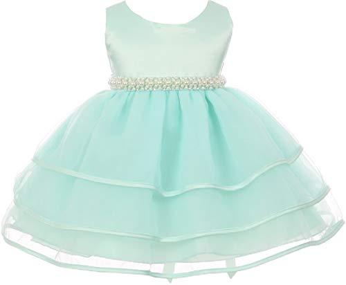 Little Baby Girls Sparkle Pearl Beading Waistline Flowers Girls Dresses