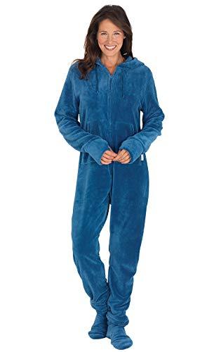 PajamaGram Women Footie Pajamas Adult - One Piece Pajamas for Women Blue MD 8-10
