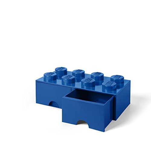 Lego Storage Bins - LEGO Brick Drawer, 8 Knobs, 2 Drawers, Stackable Storage Box, Bright Blue