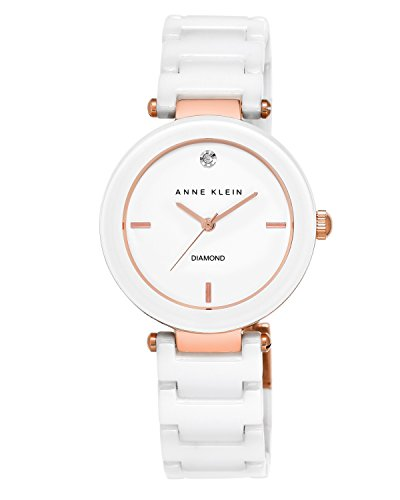 Anne Klein Women's AK/1018RGWT  Diamond-Accented White Ceramic Bracelet Watch ()