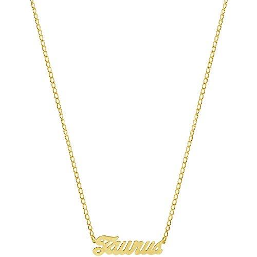 Nickel Free Mystical Sun Sign Horoscope Zodiac Nameplate Necklace, USA!, Taurus in Gold Tone