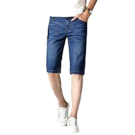 Men's Loose Stretchy Lightweight Summer Slim Denim Shorts Jeans