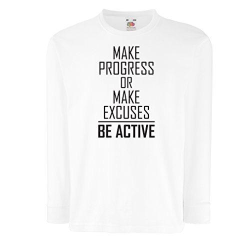 "T-shirt for kids ""Be Active - living with no excuses""– motivational - daily inspirational quotes for success (9-11 years White (Gorila Mask)"