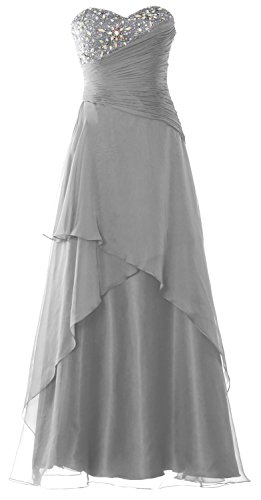 MACloth Strapless Long Prom Dress Crystals Tiered Chiffon Formal Evening Gown Plateado