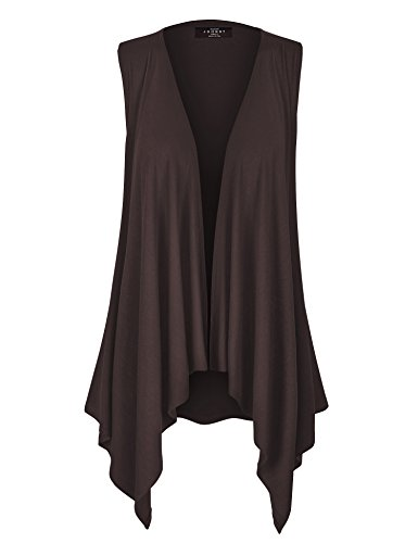 WSK1071 Womens Lightweight Sleeveless Draped Open Cardigan L Brown
