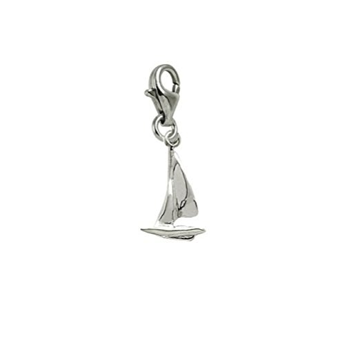 14k White Gold Sailboat Charm With Lobster Claw Clasp, Charms for Bracelets and Necklaces