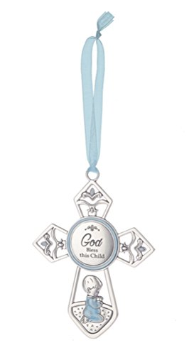 Baptized In Christ Grow In The Light Of God's Love Blue Baptism (Blessing Cross Ornament)