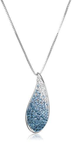 Sterling Silver with Swarovski Elements Crystal Teardrop Pendant Necklace