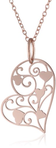 14k Rose Gold Plated Sterling Silver Heart Filigree Pendant Necklace, 18""