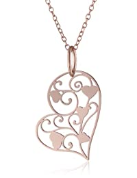 Rose Gold Plated Sterling Silver Heart Filigree Pendant Necklace, 18""