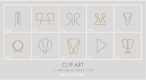 Clip Art: 20 Historical Paper Clips (Elegant, fun paperclips, 10 brass, 10 silver)