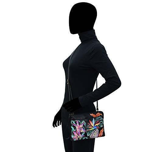 Anuschka kvinnors äkta läder medium organisering-ö fly svart
