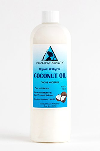 Coconut Oil 92 Degree Organic Carrier Cold Pressed Premium Fresh Natural 100% Pure 16 oz
