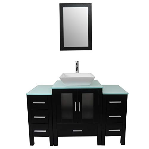Tonyrena 48 inch Bathroom Vanity in Black with Mirror and Tempered Glass Countertop,Include White Square Vessel Sink Set