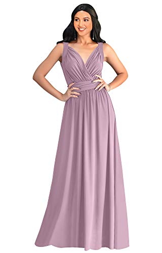 Vintage Fashion Womens Dresses Gowns - KOH KOH Petite Womens Long Sleeveless Flowy Bridesmaids Cocktail Party Evening Formal Sexy Summer Wedding Guest Ball Prom Gown Gowns Maxi Dress Dresses, Dusty Pink XS 2-4