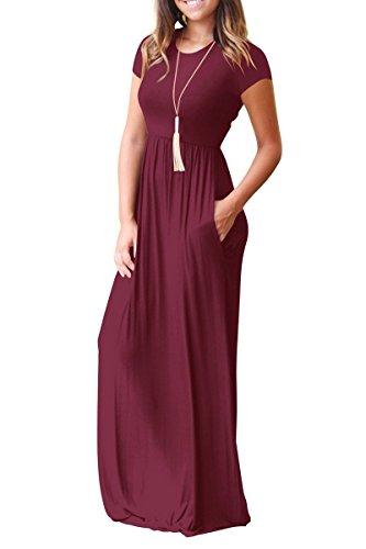 Larga Wine de de Mujer Llanura Lisa Manga Corta Vestido Rojeam con y Red Suelta Casual Bolsillos para fUBqxwznZg