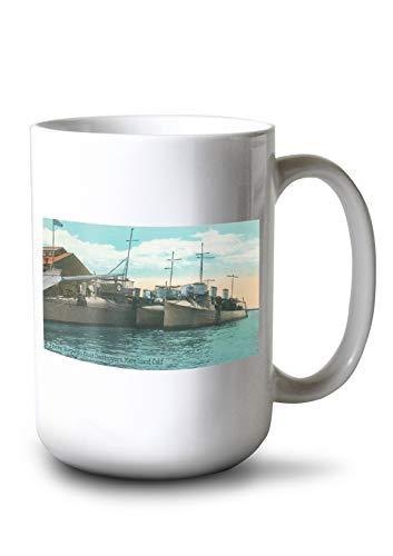 Lantern Press Mare Island, California - View of Three Torpedo Boat Destroyers in Dock (15oz White Ceramic Mug)