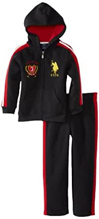 U.S. Polo Assn. Little Boys' Toddler 2 Piece Sporty Fleece Hoody and Matching Fleece Pant, Black, 2T