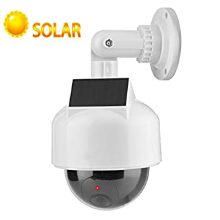 Dummy Security Camera, Waterproof Realistic Dome Shape Solar Powerd Wireless Surveillance Fake Camera with IR LED Flashing Light for Home/Warehouse Indoor & Outdoor
