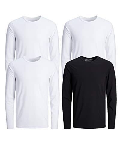 3x Redondo Larga Manga Camiseta Weiß Hombre Para Jones De amp; Schwarz 1x Liso Jack qwvZ6Z