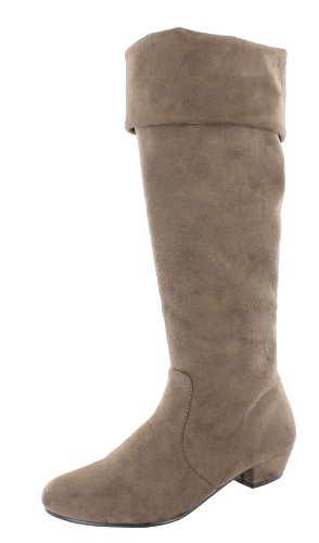 Ladies Spot On Mid Heel High Leg Boots 'F50202' - Taupe, Size 6 UK