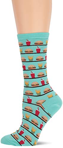 Hot Sox Women's Food and Booze Novelty Casual Crew Socks, Fast (Jade), Shoe Size: 4-10