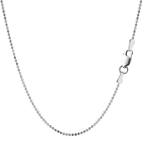 Sterling Silver Rhodium Plated Bead Chain Necklace, 1,2mm, 20