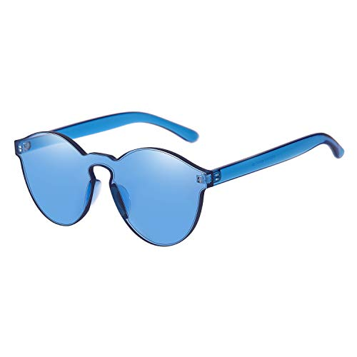Accessories Blue Dark Color - One Piece Rimless Sunglasses Transparent Candy Color Tinted Eyewear (Blue)