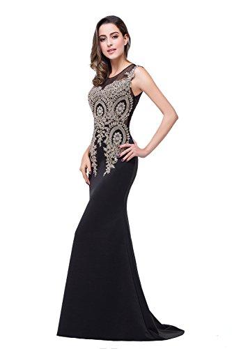 Elegant Abendkleid Strass Misshow Meerjungfrau Spitze Ohne Ärmel mit Damen Bodenlang Beige OxHgxCnq