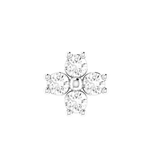 bbamjewelry 14K White Gold Fn Cubic Zirconia Flower Stud Piercing Ring Screw Nose Pin 22G