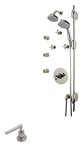 Rohl MODKIT32L-STN Modern Architectural Ocean4 Concealed Thermostatic Shower Package with Metal Levers Includes Ba190L Ba31L 1440/6, Satin Nickel