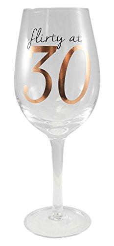 Flirty at 30 Birthday Wine Glass - 18